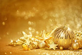 Golden Christmas background — Stock fotografie