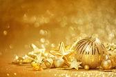 Zlatý vánoční pozadí — Stock fotografie