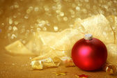 Golden Christmas background — Foto de Stock