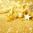 Golden Christmas background — Photo