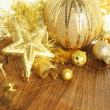 Golden Christmas ornaments — Stock fotografie