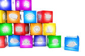 Colorful social media icons — Stock Photo