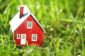 Tiny red house in green grass — Stock Photo