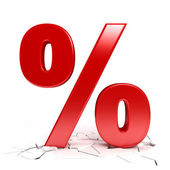 Red percent sign — Stock Photo