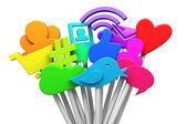Símbolos de mídias sociais — Foto Stock
