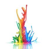 Colorful paint splashing — Stock Photo