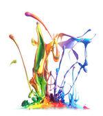 多彩油漆溅 — 图库照片