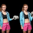 Young Woman Lifting Weights — Stock Photo
