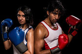 Male and Female Boxers — Stock Photo