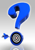 Blue questionmark and target — Stock Photo
