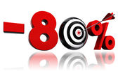 Eighty per cent red discount symbol with target — Stock Photo