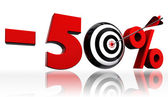 Fifty per cent 50% red discount symbol with conceptual target — Stock Photo