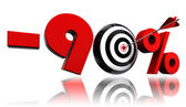 Ninety per cent red discount symbol target and arrow — Stock Photo