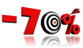 Seventy per cent red discount symbol with target and arrow — Stock Photo