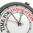 Innovation time concept clock — Stock Photo