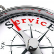 Service red word on compass - Foto de Stock