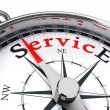 Service red word on compass — Stock Photo