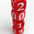 Stock Photo: New year 2013 dice tower
