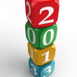 Royalty-Free Stock Photo: New year 2013 3d colorful dice tower