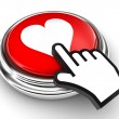 Love heart red button and pointer hand — Stock Photo