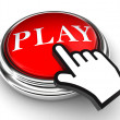 Play red button and pointer hand — Stock Photo