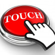 Touch red button and pointer hand — Stock Photo