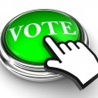 Vote green button and pointer hand — Stock Photo