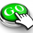 Go green button and pointer hand — Stock Photo