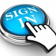 Sign in blue button and hand - Stock Photo