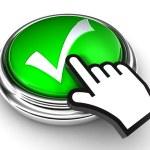 Ok tick check mark symbol on green button with cursor hand — Stock Photo #13251960