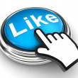 Like blue button and pointer hand — Stock Photo