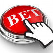 Bet red button and pointer hand — Stock Photo