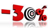 скидка 30% 30% красный символ с концептуальной целевой — Стоковое фото