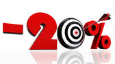 Twenty per cent discount symbol with conceptual target — Stock Photo