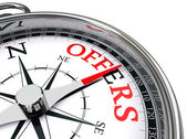 Offers red word indicated by compass — Stock Photo