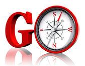 Gå röda ord och konceptuella kompass — Stockfoto
