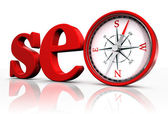 Seo red word and conceptual compass — Stock Photo
