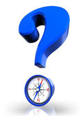 Questionmark and compass blue symbol — Stock Photo