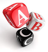 A b and c letters on red white black box — Stock Photo