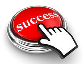 Success red button and pointer hand — Stock Photo