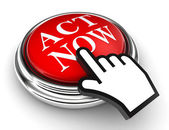 Act now red button and pointer hand — Stock Photo
