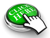 Click here green button and pointer hand — Stock Photo