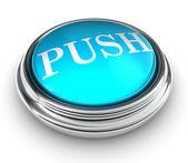 слово нажмите на синюю кнопку — Стоковое фото
