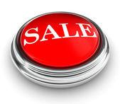 Sprzedaż słowo na czerwony przycisk — Zdjęcie stockowe
