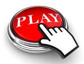 赤いボタンとポインターの手を再生します。 — ストック写真