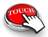 Kırmızı düğmeye dokunursan işaretçi el — Stok fotoğraf
