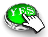 Yes green button and pointer hand — Stockfoto