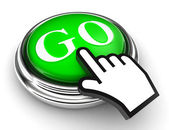 Botão verde ir e mão de ponteiro — Fotografia Stock
