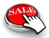 Sale red button and pointer hand — Stock Photo