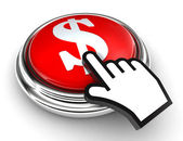 Dollar symbol red button and pointer hand — Stock Photo